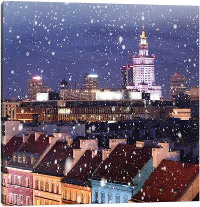 Snow Falls On The Roofs First, Warsaw Canvas Art Print