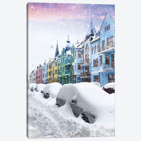 A Forgotten Street Under The Snow Of Helsinki Canvas Print #FOL1} by Florian Olbrechts Canvas Artwork