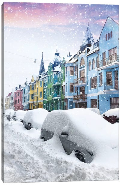 A Forgotten Street Under The Snow Of Helsinki Canvas Art Print