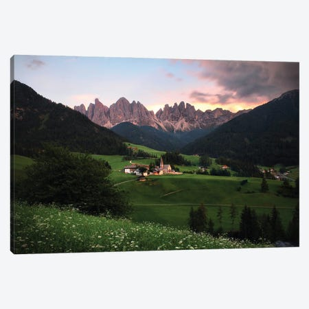 Sunset Time In Val Di Funes, Dolomites, Italy Canvas Print #FOL20} by Florian Olbrechts Art Print