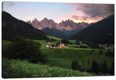 Sunset Time In Val Di Funes, Dolomites, Italy Canvas Art Print