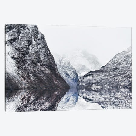 The Perfect Narturals Reflections Of Gudvangen Fjord In Norway 3-Piece Canvas #FOL22} by Florian Olbrechts Canvas Print