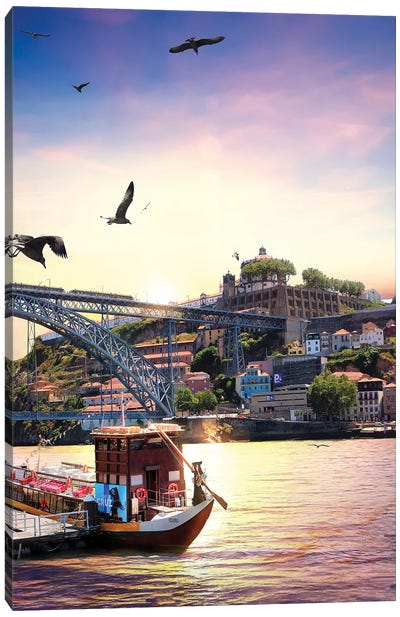 When Water, Earth And Air Meet For A Sunset, Porto Canvas Art Print