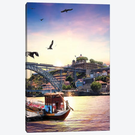 When Water, Earth And Air Meet For A Sunset, Porto Canvas Print #FOL29} by Florian Olbrechts Canvas Art Print