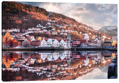 Bergen Reflections, Norway Canvas Art Print