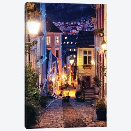 Bergen Cobblestone Street At Night Canvas Print #FOL4} by Florian Olbrechts Canvas Art Print