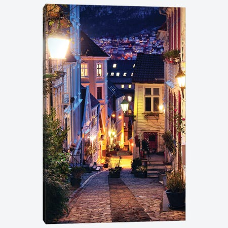 Bergen Cobblestone Street At Night Canvas Print #FOL4} by Florian Olbrechts Canvas Art Print