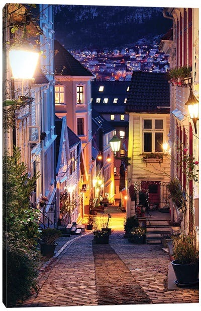 Bergen Cobblestone Street At Night Canvas Art Print