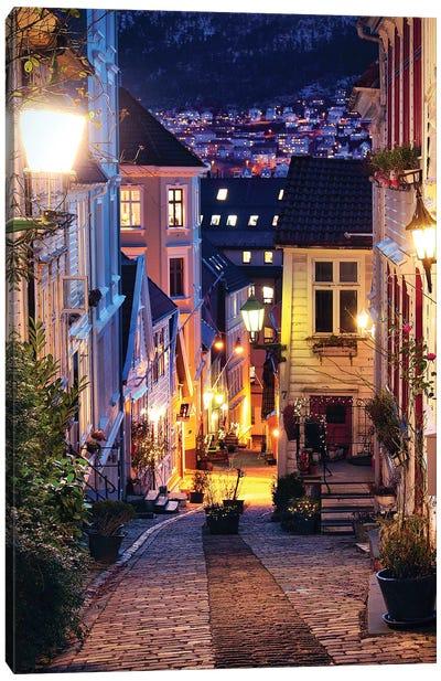 Bergen Cobblestone Street At Night Canvas Art Print