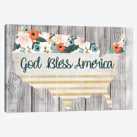 God Bless America Canvas Print #FPP138} by Front Porch Pickins Art Print