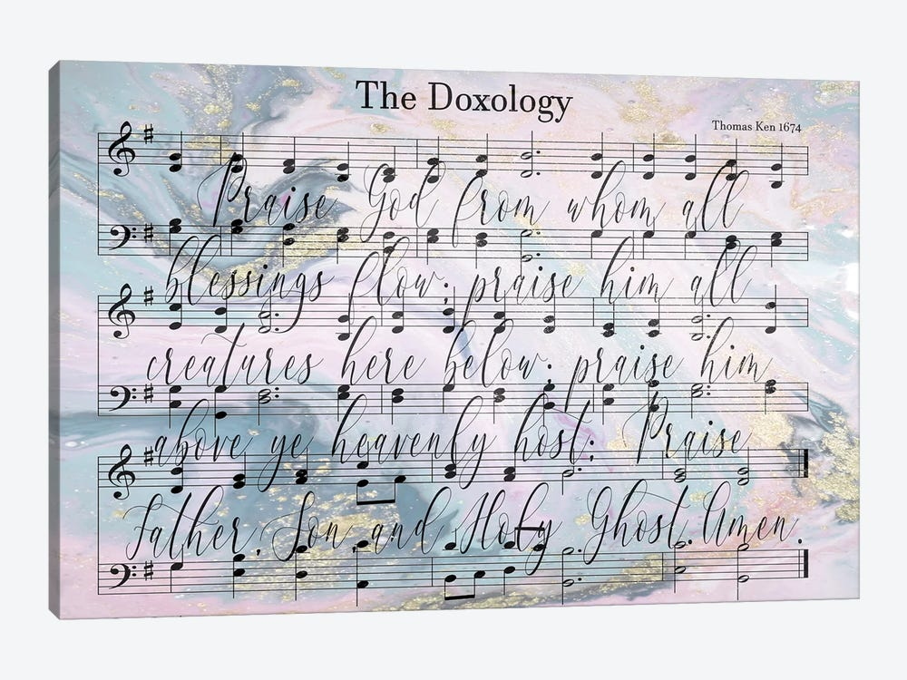 Doxology Sheet Music Lyrics by Front Porch Pickins 1-piece Canvas Art