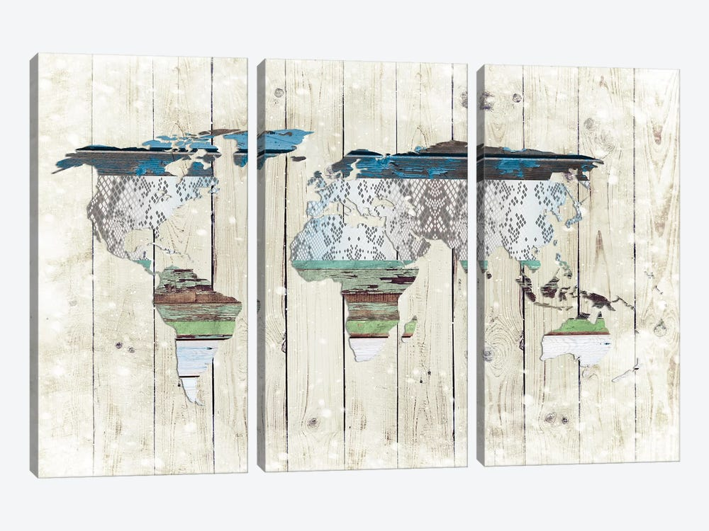 World Map I by Front Porch Pickins 3-piece Art Print