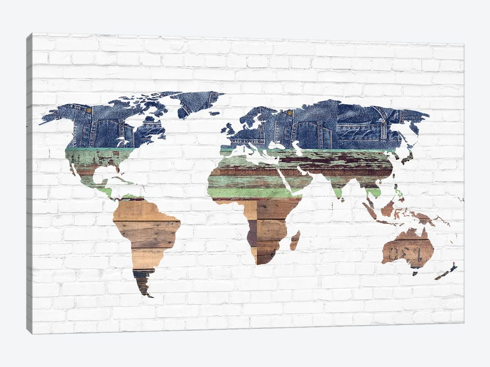 World Map II by Front Porch Pickins 1-piece Canvas Wall Art