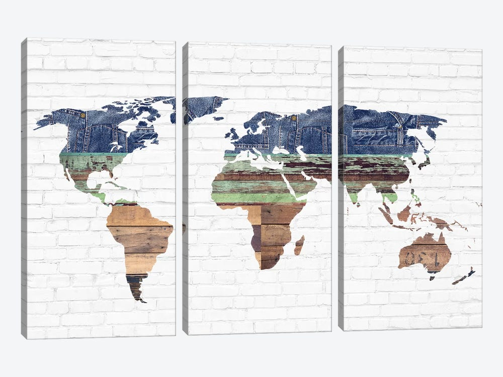 World Map II by Front Porch Pickins 3-piece Canvas Wall Art