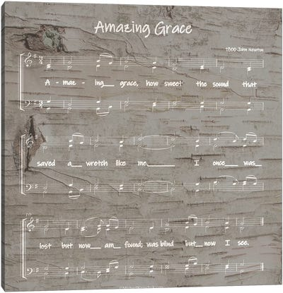 Amazing Grace Sheet Music Canvas Art Print