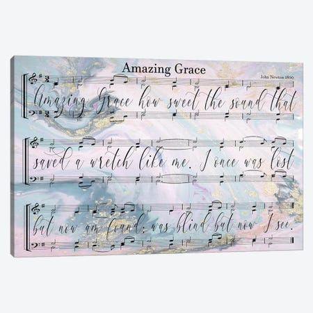 Amazing Grace Sheet Music With Lyrics Canvas Print #FPP4} by Front Porch Pickins Canvas Print
