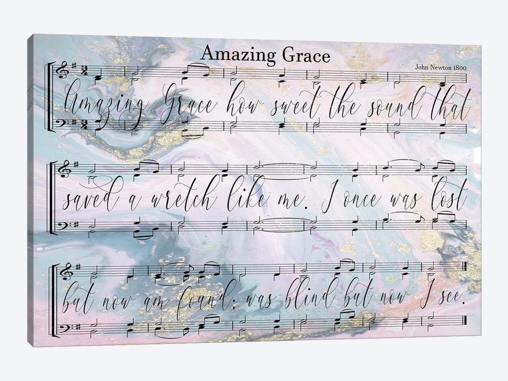 Amazing Grace Sheet Music With Lyrics by Front Porch Pickins 1-piece Canvas Wall Art