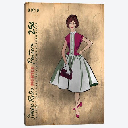 Vintage Sewing I Canvas Print #FPP67} by Front Porch Pickins Art Print