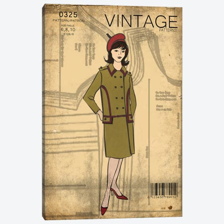 Vintage Sewing II Canvas Print #FPP68} by Front Porch Pickins Canvas Wall Art
