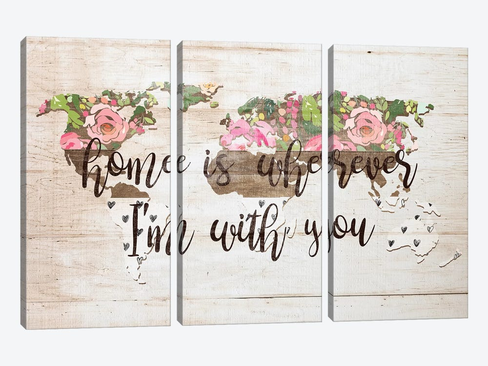 Home Is Wherever I'm With You by Front Porch Pickins 3-piece Canvas Art Print