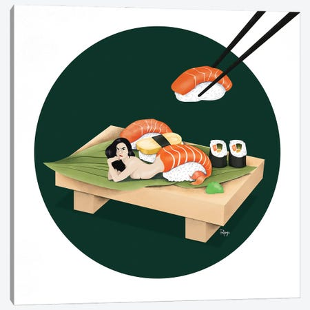 Sushi Canvas Print #FPS19} by Fatpings Studio Canvas Wall Art