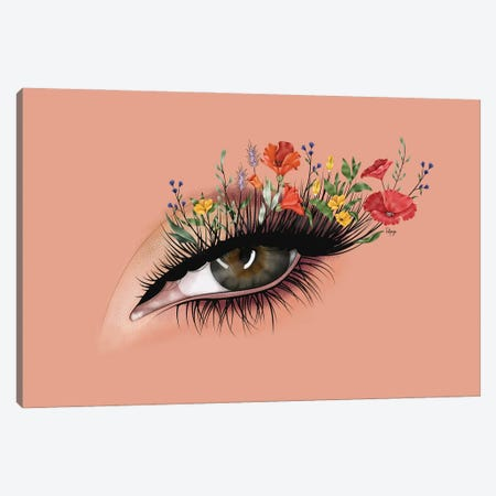Wild Flower Lashes Canvas Print #FPS27} by Fatpings Studio Canvas Art