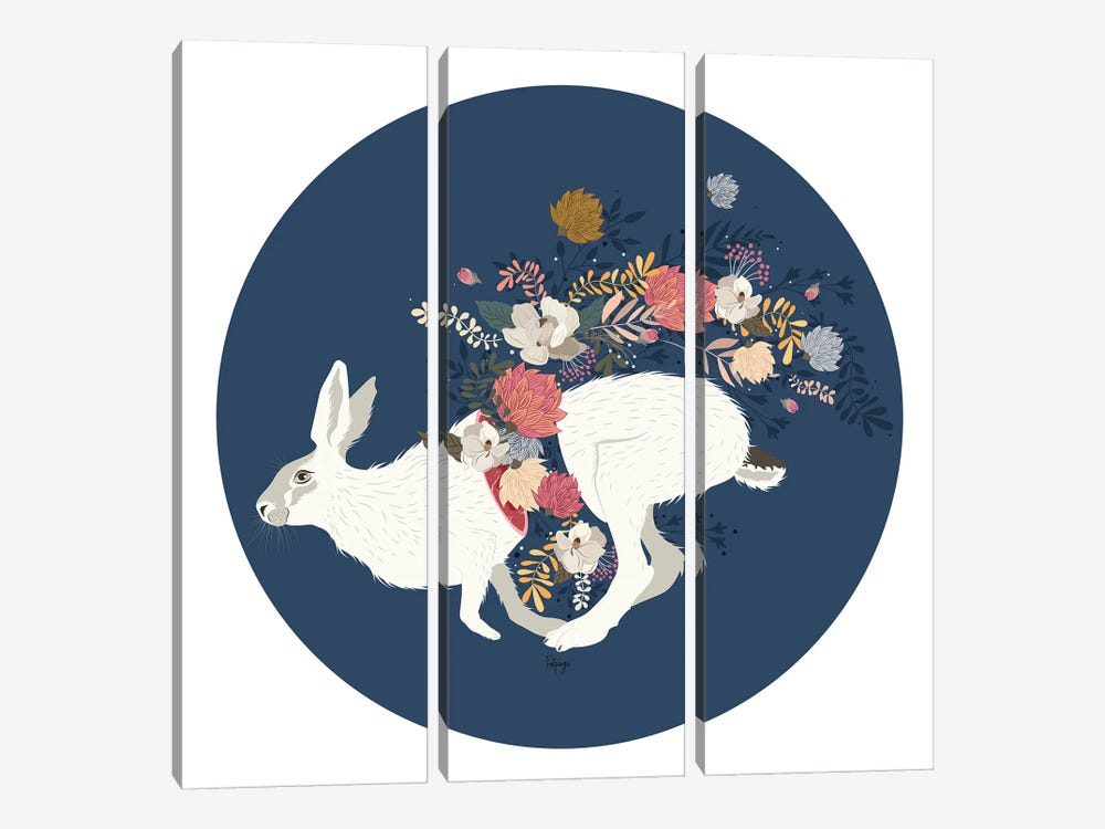 Wild Flowers - Blue by Fatpings Studio 3-piece Canvas Art Print
