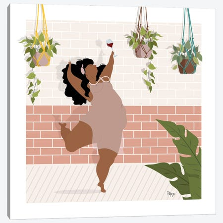 Wine & Dance Canvas Print #FPS5} by Fatpings Studio Canvas Artwork