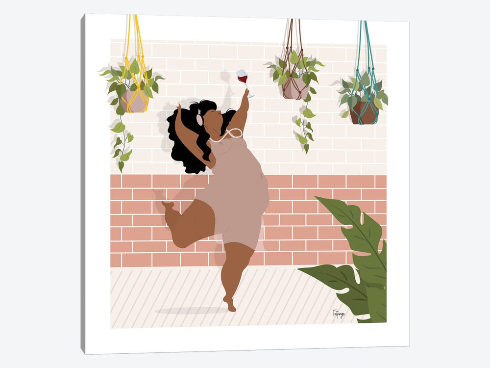 Wine & Dance by Fatpings Studio 1-piece Canvas Art