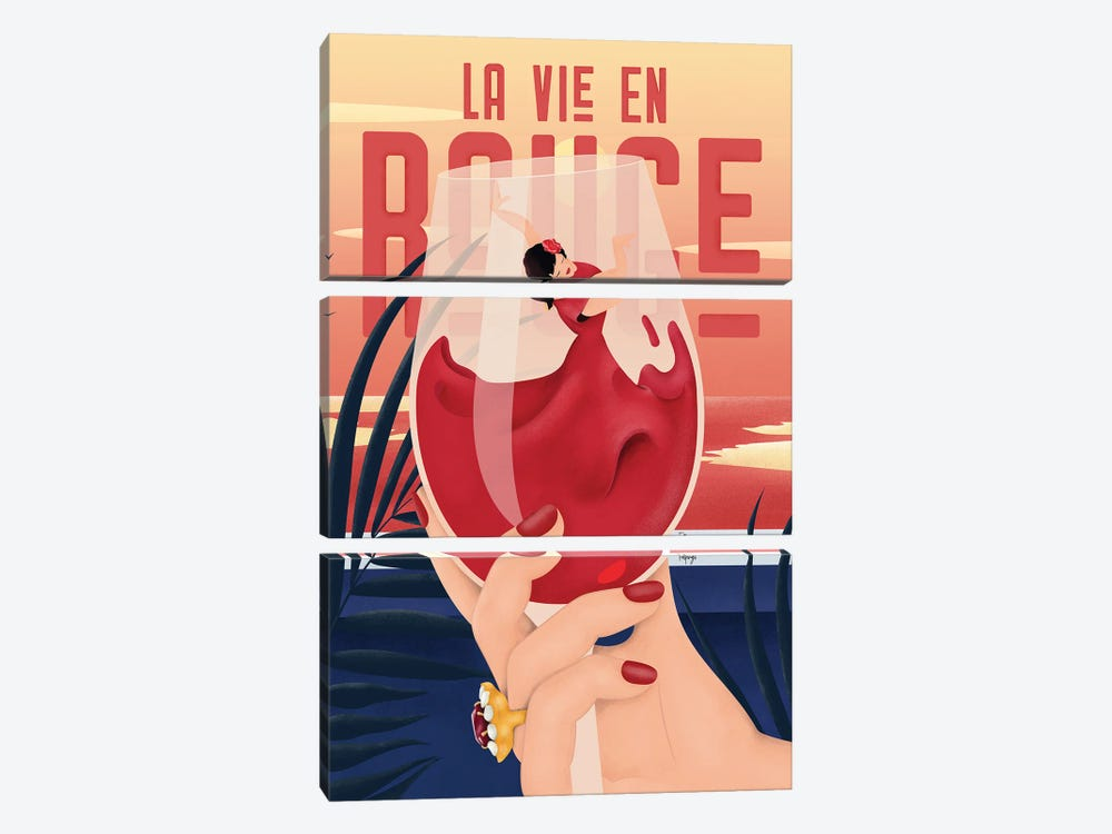La Vie En Rouge by Fatpings Studio 3-piece Art Print