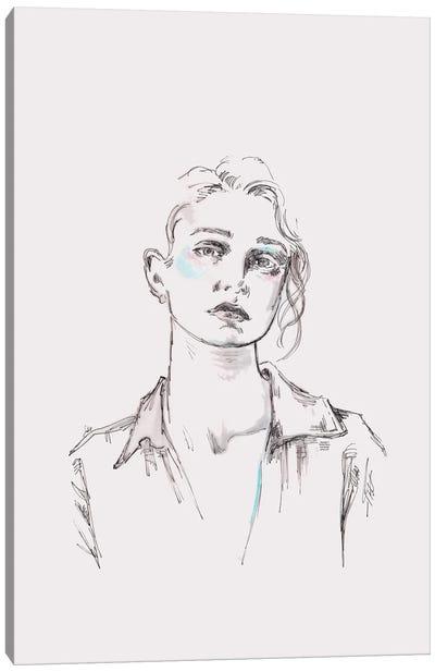 Line Drawing Portrait Of A Woman I Canvas Art Print