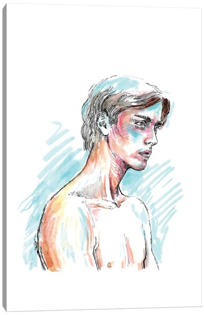 Male Nude - Line Drawing Canvas Art Print