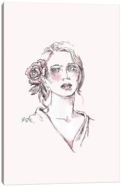 Line Drawing Portrait Of A Woman II Canvas Art Print