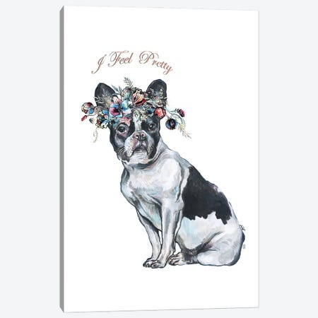 French Bulldog With Flower Crown Canvas Print #FPT121} by Fanitsa Petrou Canvas Art Print