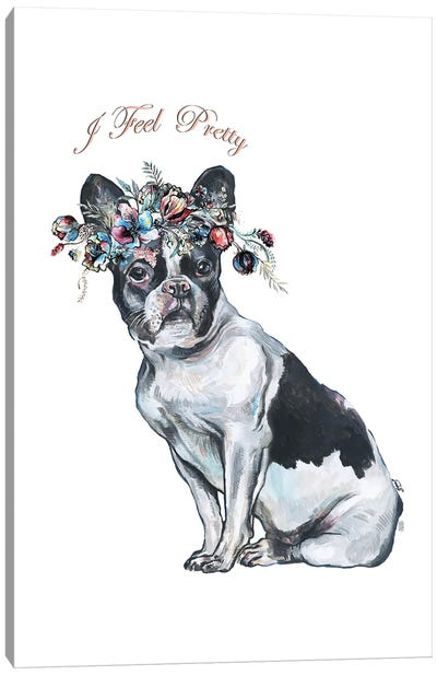 French Bulldog With Flower Crown Canvas Art Print