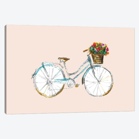 Bicycle With Basket Canvas Print #FPT122} by Fanitsa Petrou Art Print
