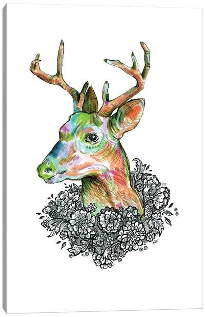 Floral Deer II Canvas Art Print