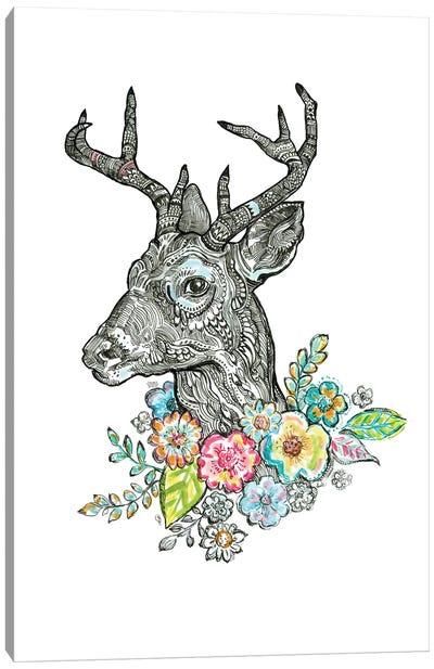 Floral Deer I Canvas Art Print