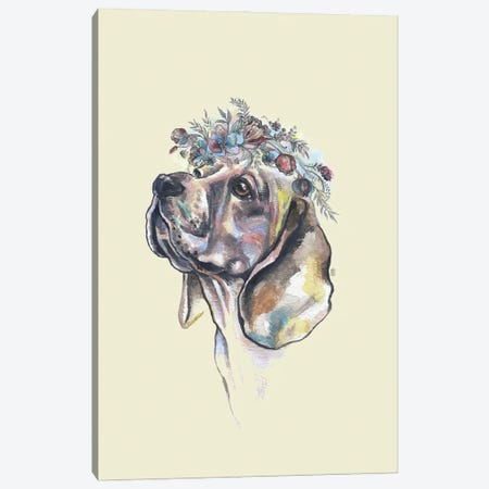 Dog With Flower Crown Canvas Print #FPT137} by Fanitsa Petrou Canvas Print