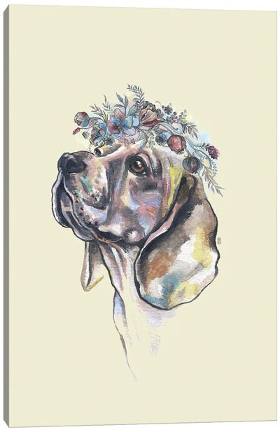 Dog With Flower Crown Canvas Art Print