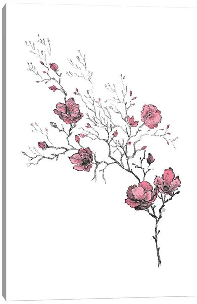 Japanese Style Flowers Canvas Art Print