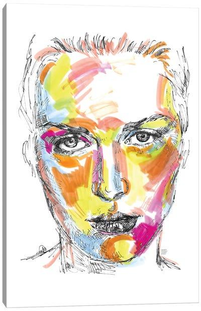 Portrait In Neon Colours Canvas Art Print