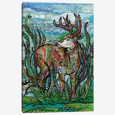 Deer In A Meadow Canvas Print #FPT147} by Fanitsa Petrou Canvas Artwork