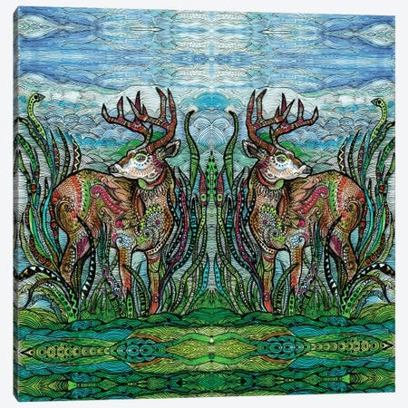 Deers In A Meadow Canvas Print #FPT148} by Fanitsa Petrou Canvas Print