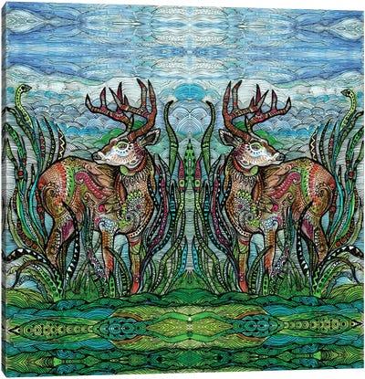 Deers In A Meadow Canvas Art Print