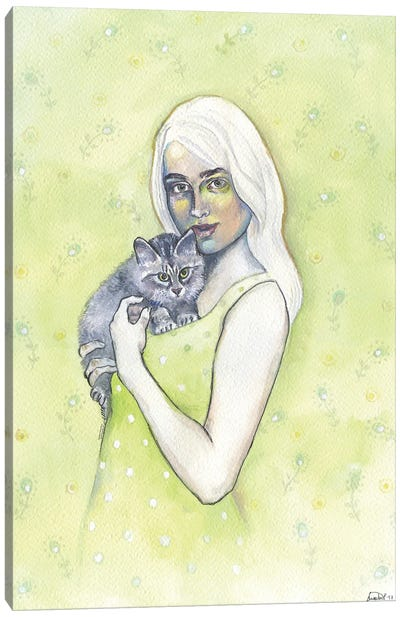 Girl With Cat Canvas Art Print