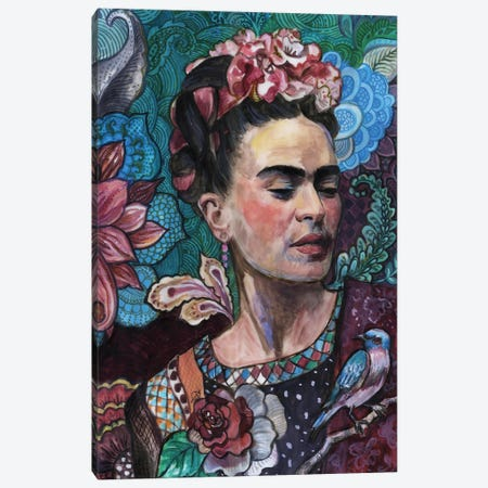 Frida - Birds And Flowers Canvas Print #FPT19} by Fanitsa Petrou Art Print