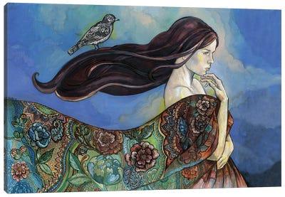A Bird On Her Hair Canvas Art Print