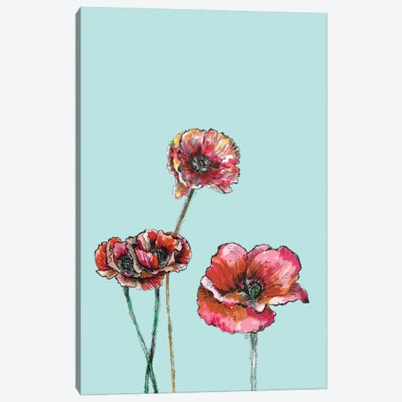 Red Poppies II Canvas Print #FPT217} by Fanitsa Petrou Canvas Artwork