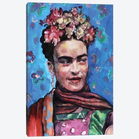 Frida On Blue Canvas Print #FPT21} by Fanitsa Petrou Canvas Wall Art